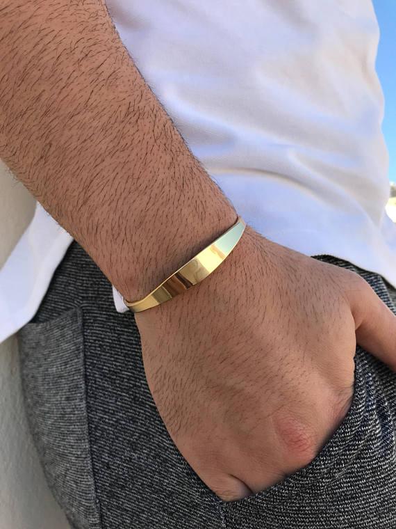 Cuff Bracelet Men Gold