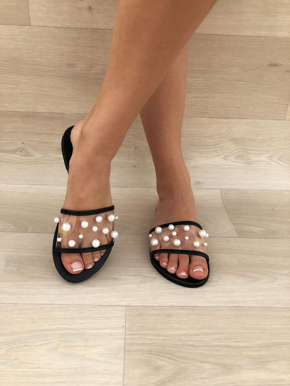 3b67c3fe84bc LEATHER SANDALS    White Pearls Slide Sandals Black - Christina ...