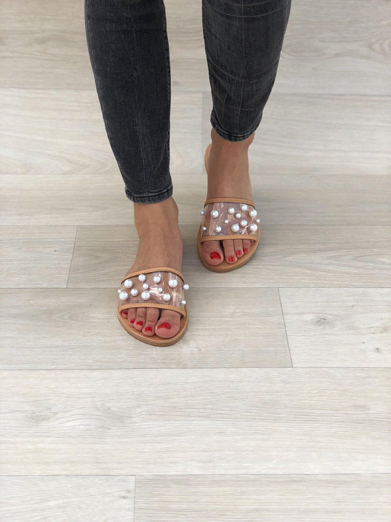 375fa5625470 LEATHER SANDALS    White Pearls Slide Sandals Brown - Christina ...