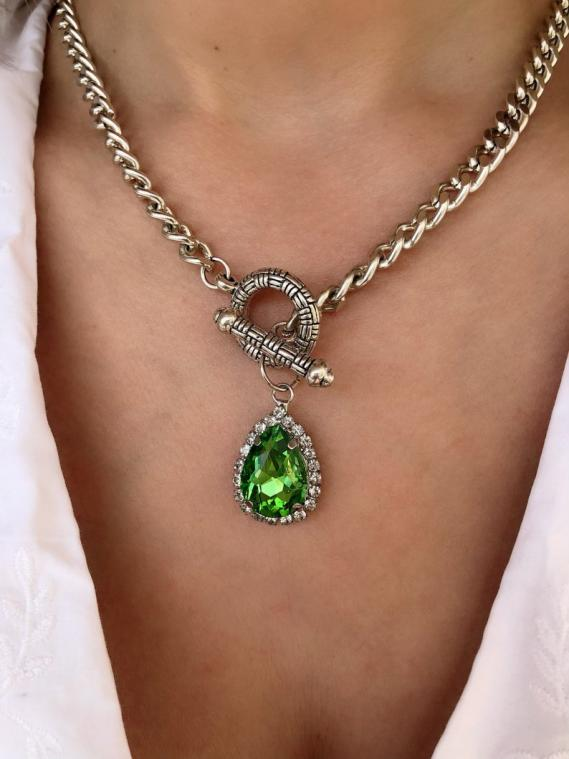 Silver Chain Necklace Green Crystal