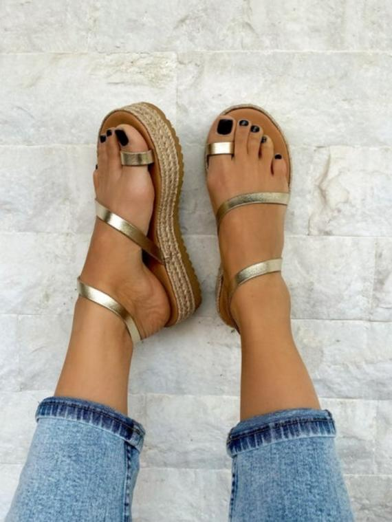 Handmade Leather Sandals Gold Color