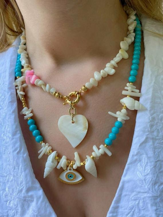 Layer Necklaces White Heart & Evil Eye
