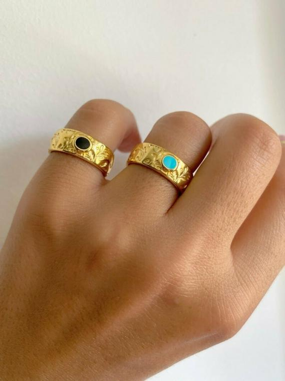 Wide Rings Gold with Stones