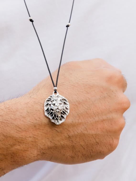 Silver Lion Necklace Men