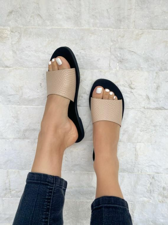 Beige Leather Slide Sandals