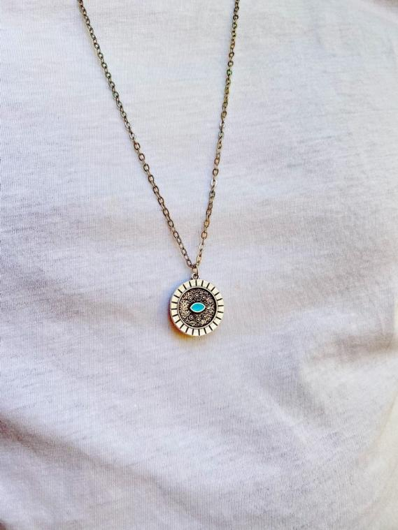 Mens Round Evil Eye Necklace