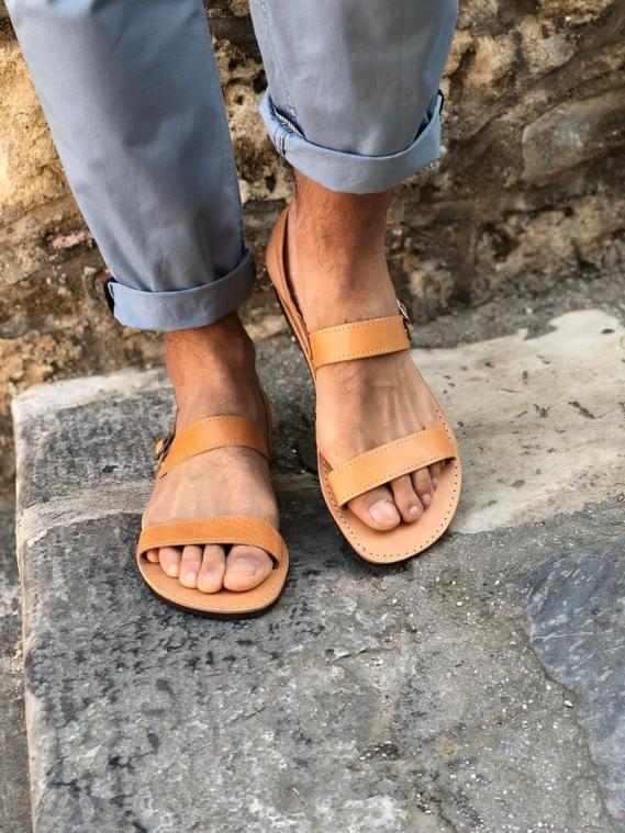 Mens Leather Slingback Sandals Two Straps