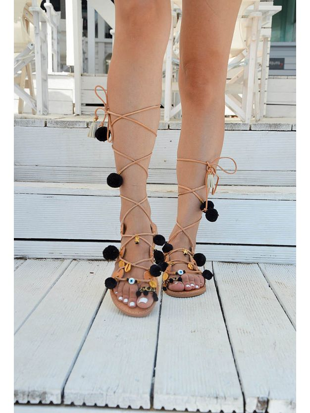 d2eb8ee46 LEATHER SANDALS :: Bohemian Sandals Black Pom Pom - Christina ...